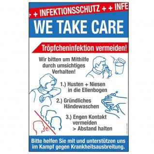Warnschild - Infektiionsschutz We Take Care... - Gr. ca. 20 x 30 cm - 309893 - Schutz vor Viren und Bakterien