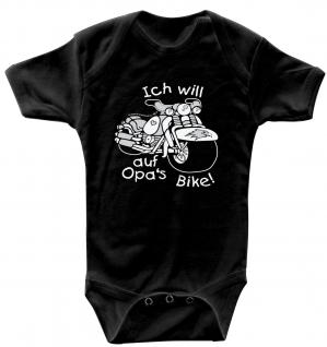 Babystrampler mit Print ? Ich will auf Opa´s Bike ? 08360 schwarz - 6-12 Monate