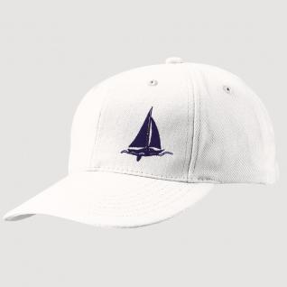 Kappe-Schirmmütze mit kl. Bestickung - Segelschiff auf See - 68819-2 weiss - Baumwollcap Baseballcap Hut Cap Cappy