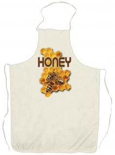 Grillschürze Kochschürze mit Print - Honey Biene Honig Imker - 12502