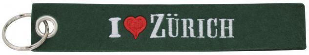 Filz-Schlüsselanhänger mit Stick I love Zürich Gr. ca. 17x3cm 14192 schwarz
