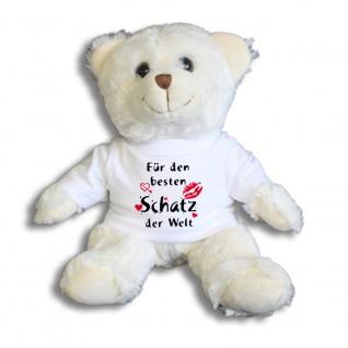 Teddybär mit T-Shirt - für den besten Schatz der Welt Gr. ca. 26 cm - 27002 weiß