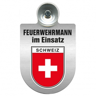 Einsatzschild Windschutzscheibe incl. Saugnapf - Feuerwehrmann im Einsatz - 309731 Region Schweiz