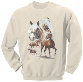 Sweatshirt mit Pferdemotiv - Haflinger-Nilson - 09044 creme ©Kollektion Bötzel - Gr. XL