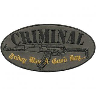 """Applikation Aufbügler Patches Stick Emblem Aufnäher Abzeichen """" CRIMINAL..."""" NEU Gr. ca. 11, 5cm x 6cm (04391) Militär Military Armee Army Heer Bundeswehr Marine"""