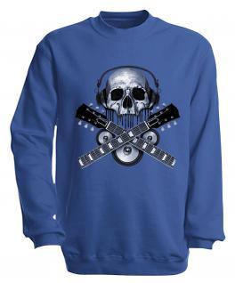 Sweatshirt mit Print - Skull Guitar - S10245 - versch. farben zur Wahl - Gr. Royal / XXL