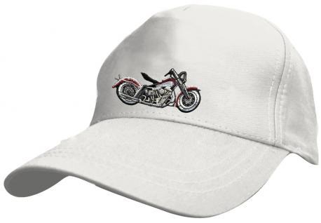 Kinder Baseballcap mit Stickmotiv - Chopper Bike Motorrad - 69129 versch. Farben weiß