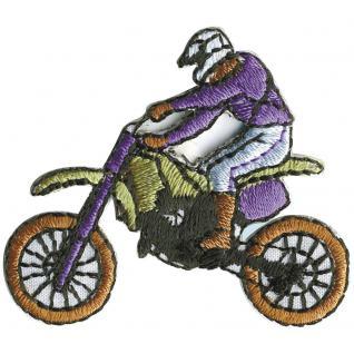 AUFNÄHER - Motorcross Bike Motorrad - Gr. ca. 2-5cm (02073) Signet Patches Stick Applikation Emblem Abzeichen - Bike Motorrad Sport Ralley