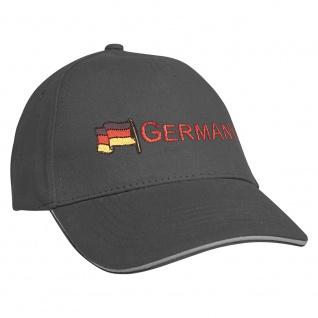 Baseballcap mit Einstickung Fahne Flagge Germany Deutschland 68130 grau