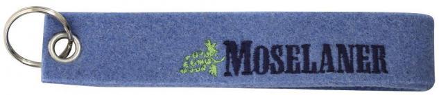 Filz-Schlüsselanhänger mit Stick Moselaner Gr. ca. 17x3cm 14185 blau