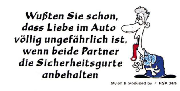 PVC Aufkleber Fun Auto-Applikation Spass-Motive und Sprüche - Wussten Sie ... - 303474 - Gr. ca. 9 x 4, 5 cm