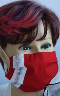 Textil Design Maske aus Baumwolle, mit zertifiziertem Innenvlies - Silberstreifen senkrecht - 15892