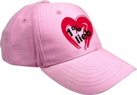 Baseballcap mit farbiger Bestickung - Herz 1 % Lieb - 52105 pink - Baumwollcap Cap Cappy Schirmmütze Hut