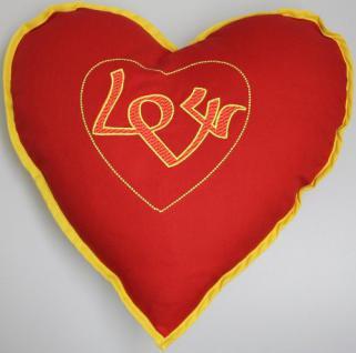 """Herzkissen - Ein Geschenk mit Herz ! Dekokissen Zierkissen mit Einstickung """" LOVE"""" NEU - 11411 - Dekokissen Zierkissen"""