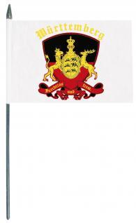 Stockländerfahne Schwenkfahne - Wappen Württemberg - Gr. ca. 40x30cm - 07535 - Flagge mit Holzstock