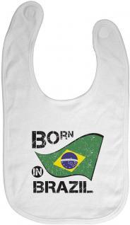 Baby-Lätzchen mit Druckmotiv - Born in Brazil - 12492 - weiss