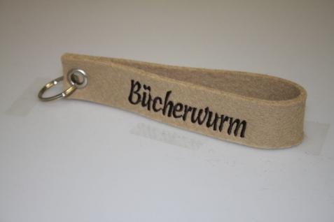 Filz-Schlüsselanhänger mit Stick - Bücherwurm - Gr. ca. 17x3cm - 14419