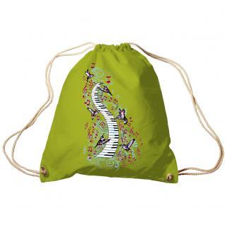 Trend-Bag Turnbeutel Sporttasche Rucksack mit Print -Klavier und Vögel - TB09018 limegrün