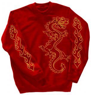 Sweatshirt mit Print - Drache Drake - 10114 - versch. farben zur Wahl - rot / M