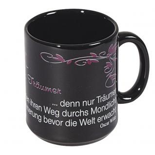 Tasse mit Print Zitat Oscar Wilde Träumer schwarz 57069