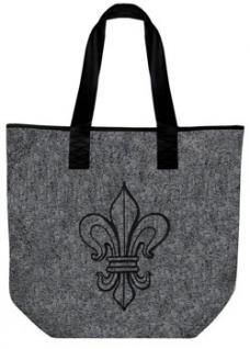 Filztasche mit großem Stick-Motiv - Lilie - (26006 grau) Umhängetasche Bag Tasche Schultertasche
