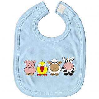 Babylätzchen mit Print - Ferkel Vogel Schaf Kuh - 07080 hellblau