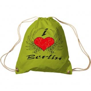 Sporttasche mit Aufdruck - I Love Berlin - 65164 - Turnbeutel Sportbeutel Rucksack grün