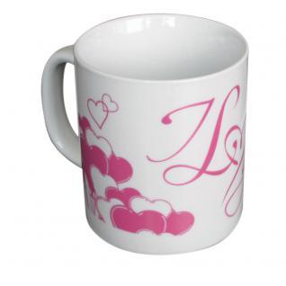 Keramiktasse mit Aufdruck I love you 57575