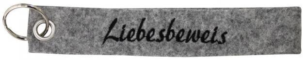 Filz-Schlüsselanhänger mit Stick Liebesbeweis Gr. ca. 17x3cm 14152 grau