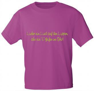 T-Shirt mit Print - Lieber ein Lied auf den Lippen .. - 10856 sorbet Gr. S