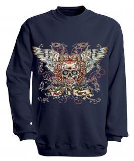 Sweatshirt mit Print - Santa Muerte - versch. farben zur Wahl - S10282 - Gr. Navy / L