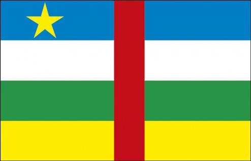 Schwenkfahne mit Holzstock - Zentralafrika - Gr. ca. 40x30cm - 77187 - Dekoflagge, Stockländerfahne