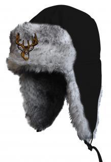 Chapka Fliegermütze Pilotenmütze Fellmütze in schwarz mit 28 verschiedenen Emblemen 60015-schwarz Hirsch 1