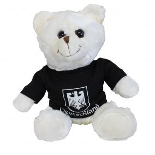 Teddybär Stoffbär Fan-Bär mit Shirt - Deutschland Adler - Größe ca 26cm - 27026 schwarz