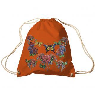 Trend-Bag Turnbeutel Sporttasche Rucksack mit Print - Schmetterlinge - TB65323 Orange