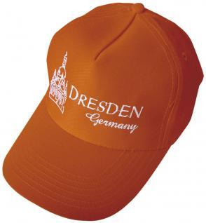 Baumwollcappy - Cap mit Bestickung - Dresdnen - 69269 orange - Baumwollcap Baseballcap Schirmmütze Hut