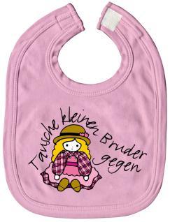 Baby-Lätzchen mit Druckmotiv - Tausche kleinen Bruder... - 07028 - rosa