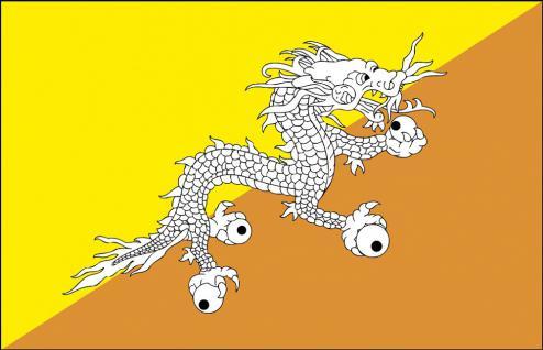 Auto-Fahne - Butan - Gr. ca. 40x30cm - 78035 - Länderflagge mit Klemmstab, Dekofahne, Autoländerfahne