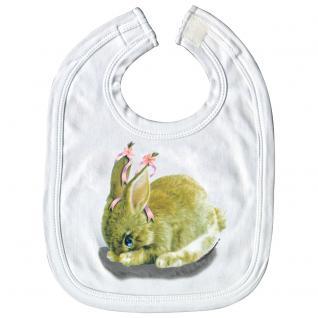 Baby-Lätzchen mit Print - Hase Kanninchen - L12778 - weiß