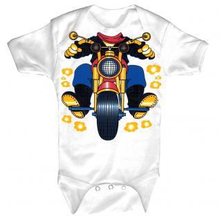 Baby-Body mit Druckmotiv Motorrad in 4 Farben und 4 Größen B12780 weiß / 0-6 Monate