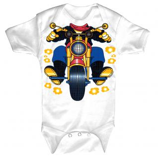 Baby-Body mit Druckmotiv Motorrad in 4 Farben und 4 Größen B12780 weiß / 12-18 Monate