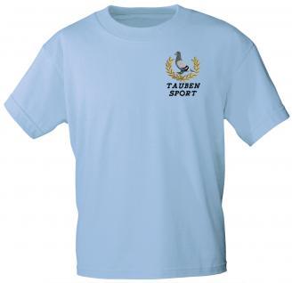 T-Shirt mit Einstickung - Taube Taubensport - TB166 hellblau Gr. L