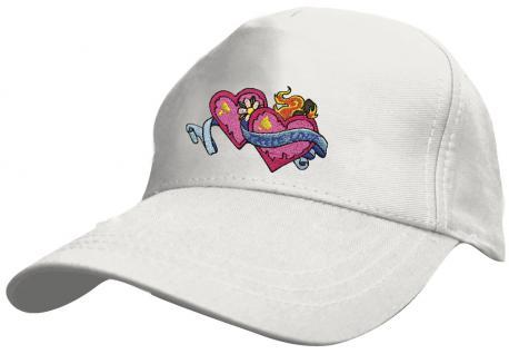 Kinder Schirm-Cap mit niedlicher Bestickung - True Love Wahre Liebe Herzchen - 69131 rot blau weiss gelb schwarz - Baumwollcap Baseballcap Hut Schirmmütze Cappy