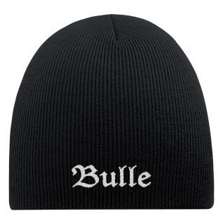 Beanie-Mütze mit Einstickung - BULLE - Wollmütze Wintermütze Strickmütze - 54517 schwarz