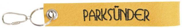 Filz-Schlüsselanhänger mit Stick PARKSÜNDER Gr. ca. 17x3cm 14153 gelb