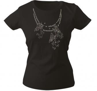 Girly-Shirt mit Print - Schmetterling - Glitzer - 12852 - versch. farben zur Wahl - schwarz / M