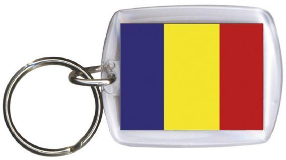 Schlüsselanhänger - RUMÄNIEN - Gr. ca. 4x5cm - 81134 - Flagge Anhänger WM Länder