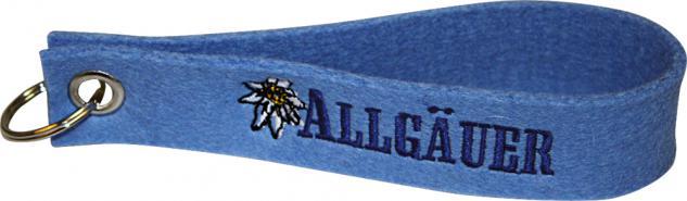 Filz-Schlüsselanhänger mit Stick Allgäuer Gr. ca. 19x3cm 14189 blau