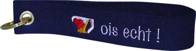 Filz-Schlüsselanhänger mit Stick OIS ECHT! Gr. ca. 17x3cm Keyholder 14445 blau
