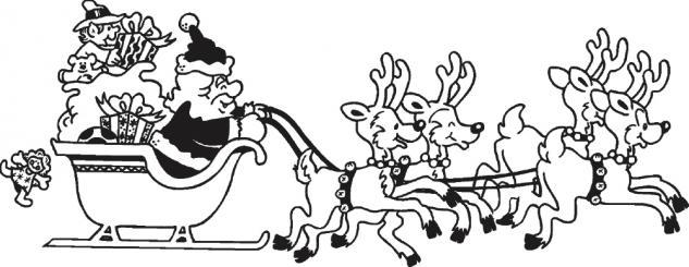 Wandtattoo Dekorfolie Weihnachtsmann mit Schlitten WD0807 - schwarz / 120cm